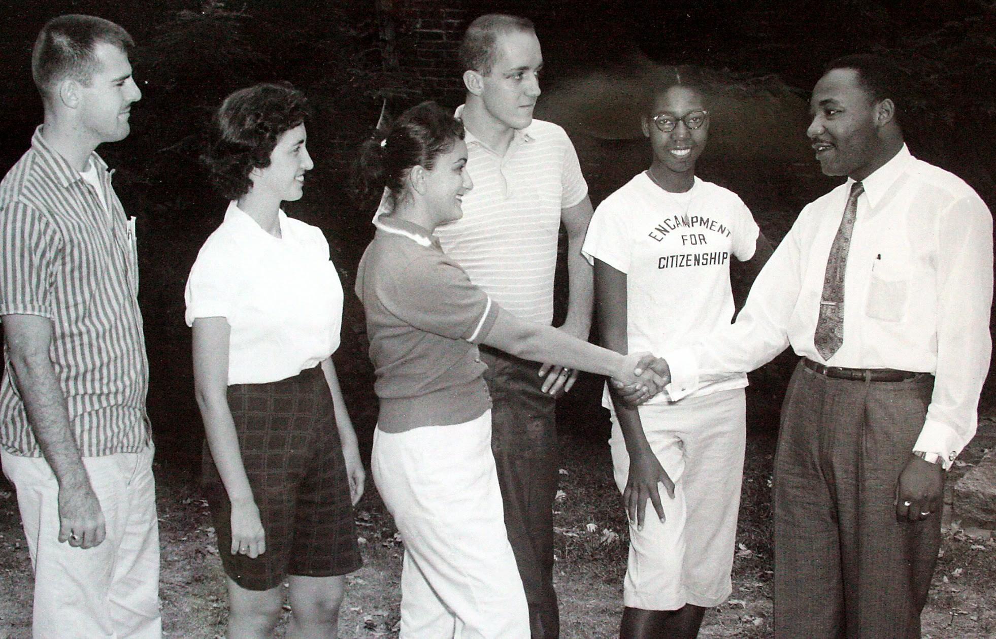 Reverend Martin Luther King, Jr., greeting Encampers.